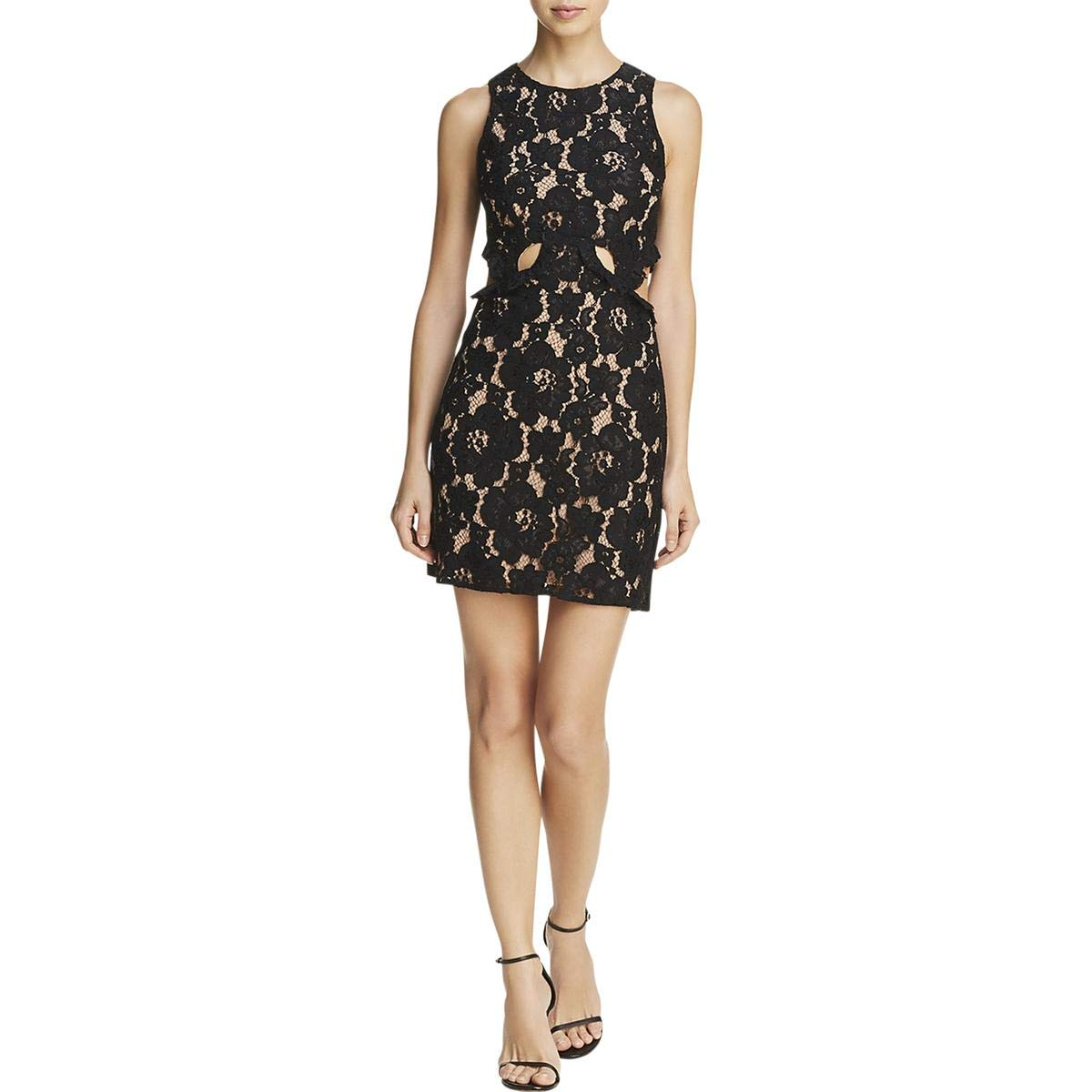 Black WAYF Womens Lace Overlay Cutout Party Dress