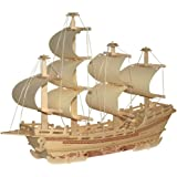 Imported DIY 3D Wooden Jigsaw Merchant Ship Modeling Construction Kit Toy Puzzle Gift