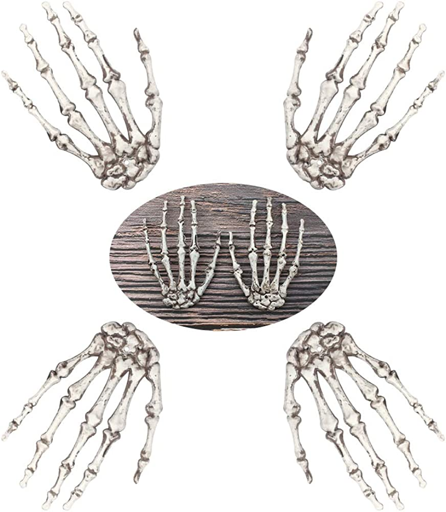 4 PCS Halloween Skeleton Hand, Halloween Decorations Plastic Realistic Skeleton Hands Bone Props Haunted House Bar Decor Trick Toy White