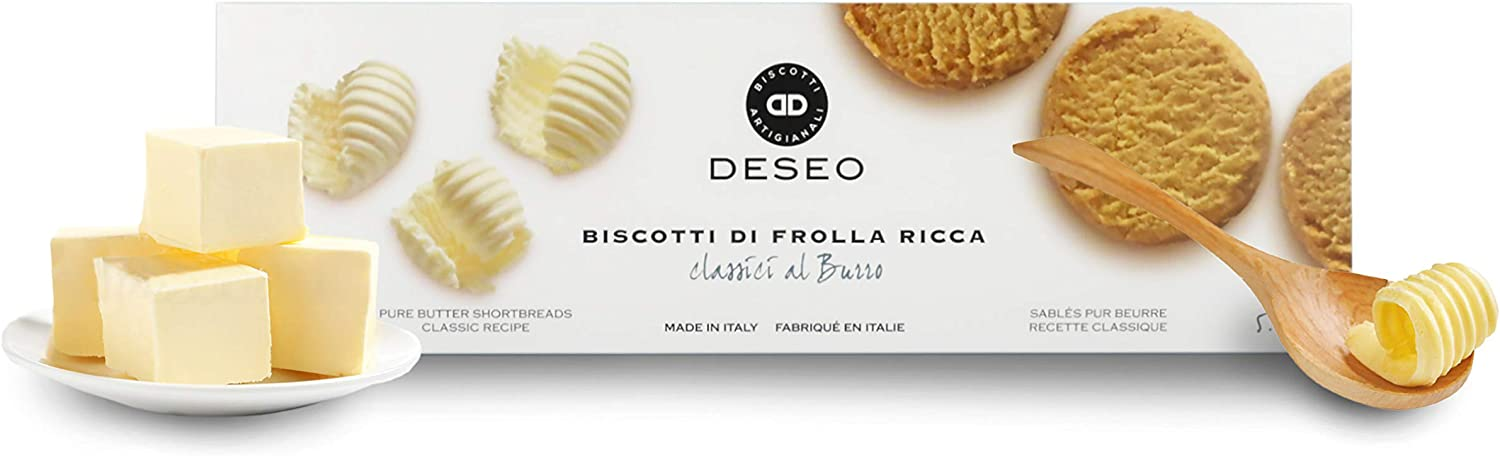 Deseo 11 Packs of Shortbread Biscuits, Italian Butter Cookies - 11 x 160g / 5.6oz