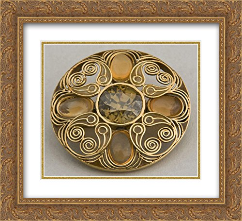 Louis Comfort Tiffany 2X Matted 22x20 Gold Ornate Framed Art Print 'Brooch '