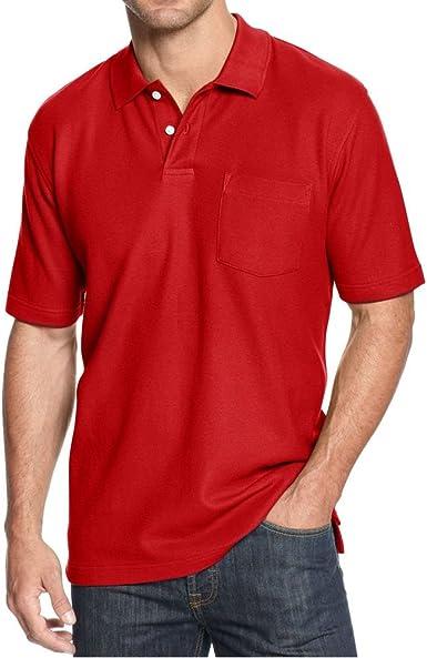 John Ashford Mens Short Sleeve Pique Pocket Polo Shirt Large L Firespin Red
