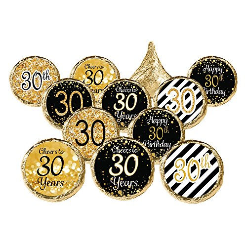 30th Birthday Party Favor Stickers - Gold and Black (Set of 324)