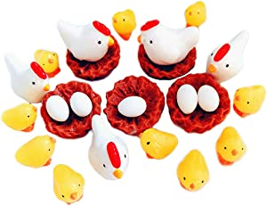 25PCS Miniature Garden Figurines - Fairy Garden Chicken Family Mini Animals for Micro Landscape/Dollhouse Miniatures/Bonsai Ornament/Fairy Houses/Home Cake Decor (Chicken Family, 25Pcs)