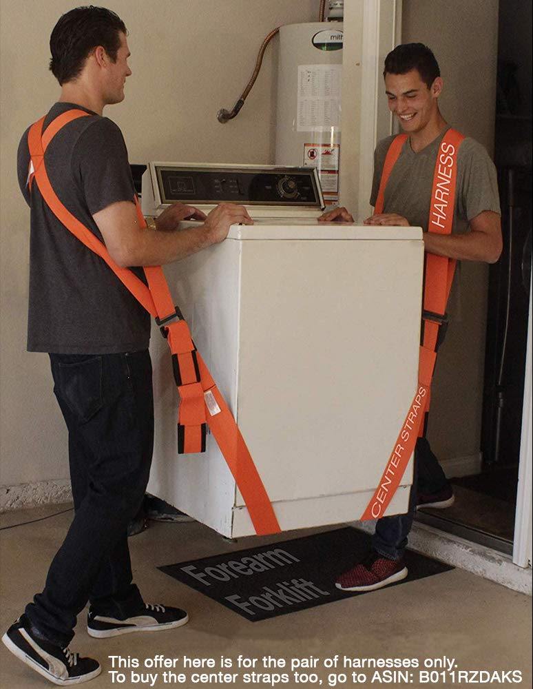 Forearm Forklift FFH2 Harness 2 | Requires Lifting & Moving Straps (Sold Separately) | 2 Person System | Lift Like A PRO and Move Heavy Appliances | Rated Up to 800 Lbs, Orange by Forearm Forklift (Image #6)