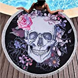 Tapestry - 2018 Sugar Skull Round Beach Towel Floral Tassel Tapestry Pink And Black Yoga Mat Flower Fashion - Coral Sky Dragon Rods Size Zodiac Gogh Display Round Windows