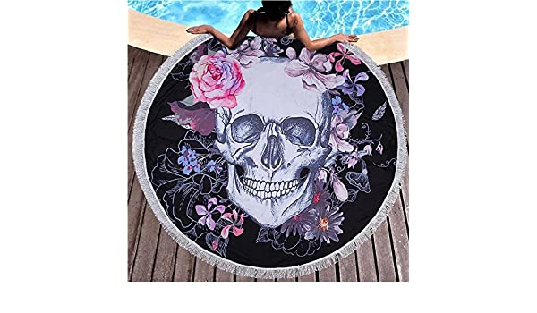 Amazon.com: Star-Five-Store - 150cm Sugar Skull Round Beach Towel Floral Tassel Tapestry Pink and Black Yoga Mat Flower Fashion Toalla Blanket: Home ...