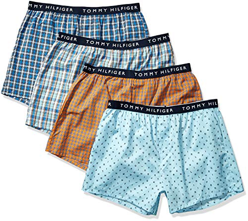 Tommy Hilfiger Men's Underwear Cotton 4 Pack Woven Boxers