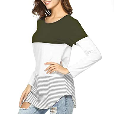 ad410b00e35 LEvifun Women T-Shirts Long Sleeve Ladies Crew Neck Patchwork Autumn Tops  Striped Clothes for Women Shirts Blouse Tee Sweatshirts Jumpers Tunic Tops  ...