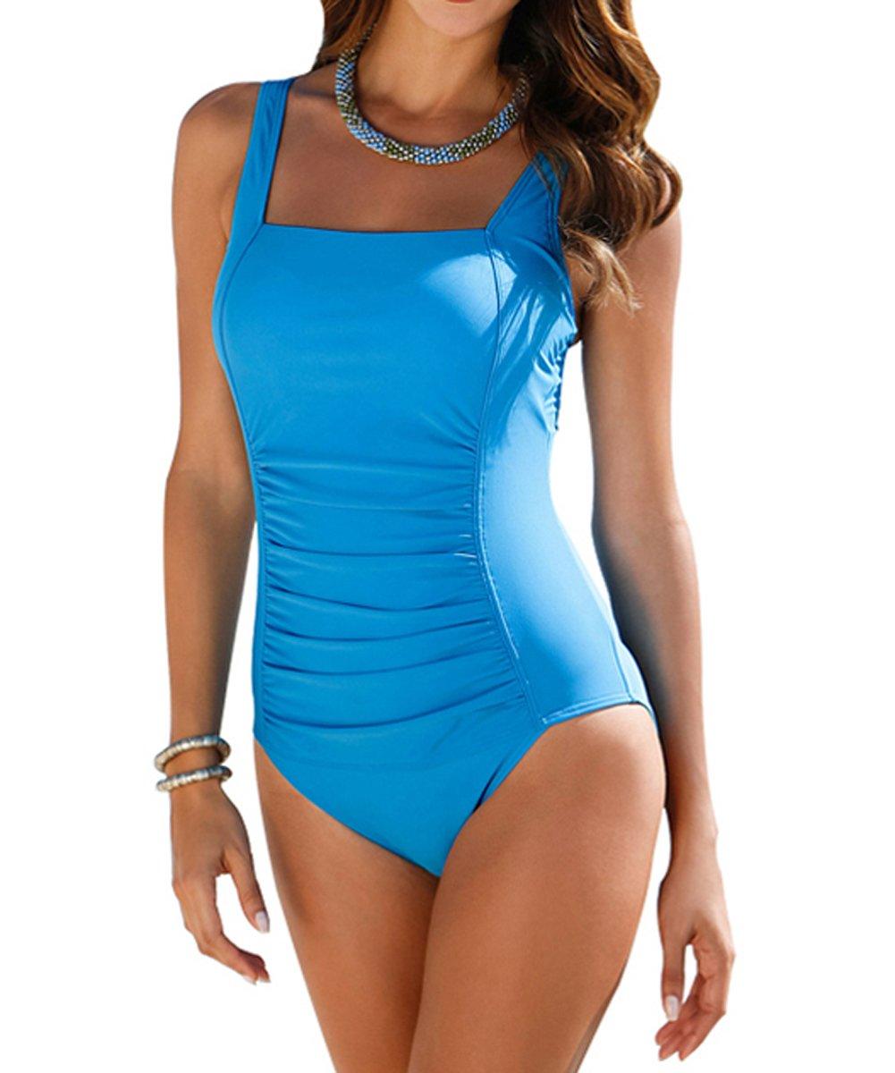 Upopby Vintage Women's Tummy Control Monokini One Piece Swimsuit Retro Bathing Suit Lake Blue US 16