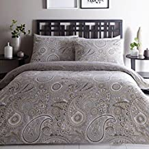 Luxury Topaz Paisley Double Duvet Quilt Cover Bedding Bed Linen Set Natural New by Portfolio