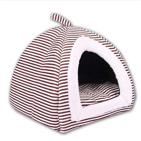 Wuwenw Casa Plegable para Una Cama De Perro con Rayas De Gatos Mascotas Saco De Dormir