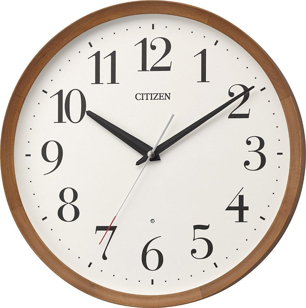リズム時計工業 置き時計掛け時計 茶色 Φ32x5.4cm 電波 アナログ M535 連続秒針 丸型 木 シチズン 8MY535-006 B07BK8DSNR