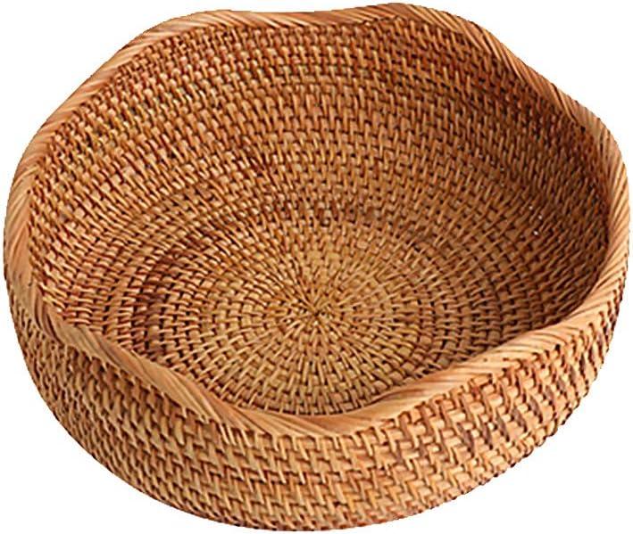 LDG Bread Serving Basket Wicker Fruit Basket Rattan Storage Basket Handmade Basket Decorative Bowl (Wavy Edge-L)