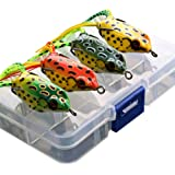 G.S YOZOH Frog Lures Topwater, Bass Fishing Lures Soft Swimbait Baits with Tackle Box for Bass Trout Snakehead Salmon…