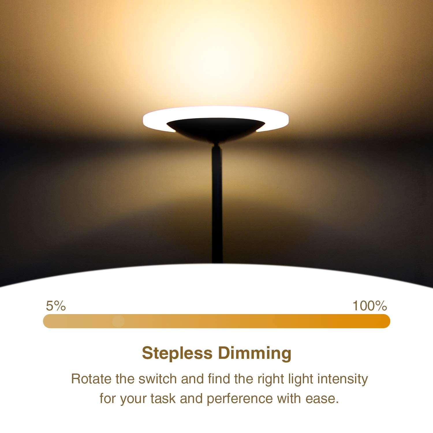 LED Torchiere Floor Lamp, Sunllipe Super Bright 18W Dimmable Uplight Adjustable Floor Lamp, Modern 70.5'' Tall Standing Pole Light, Compatible with Wall Switch for Reading, Office, Living Room, Bedroom by sunllipe (Image #2)