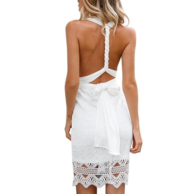 Kolylong® Kleid Damen Frauen Elegant V-Ausschnitt Spitzen Ärmelloses Kleid  Festlich Rückenfreies Kleider Spitzenkleid df6bc3a31d