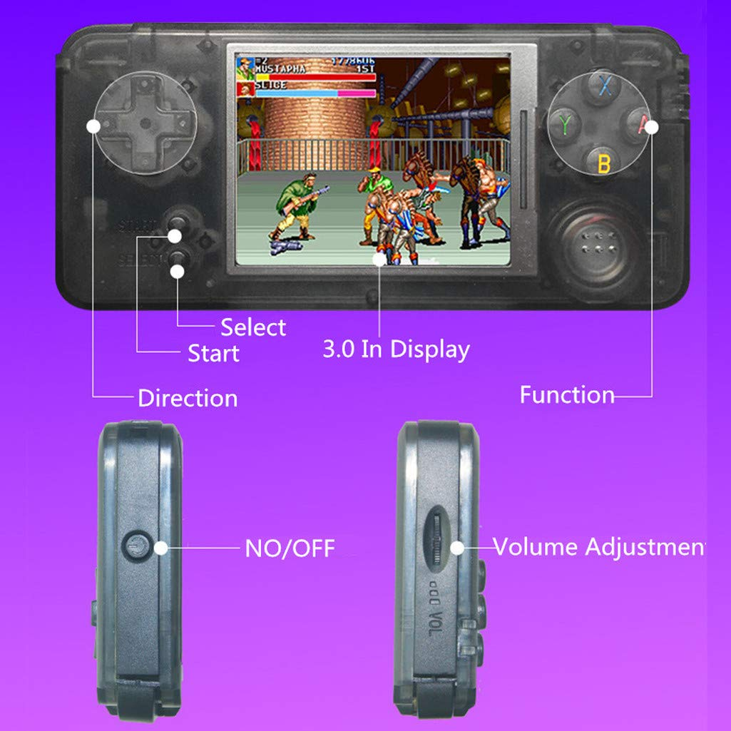 callm Handheld Game Console, Portable Handheld Game Console Retro Game Console 3 inch High Definition Display Screen 16GB Build in 3000 Classic Games Player (Black) by callm (Image #6)