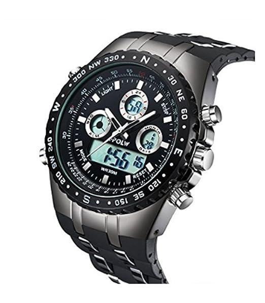HPOLW Militar Hombre Reloj de pulsera Agua Densidad de deporte Relojes Digital Reloj de Lujo LED de luz Dual de pantalla negra con banda de silicona: ...