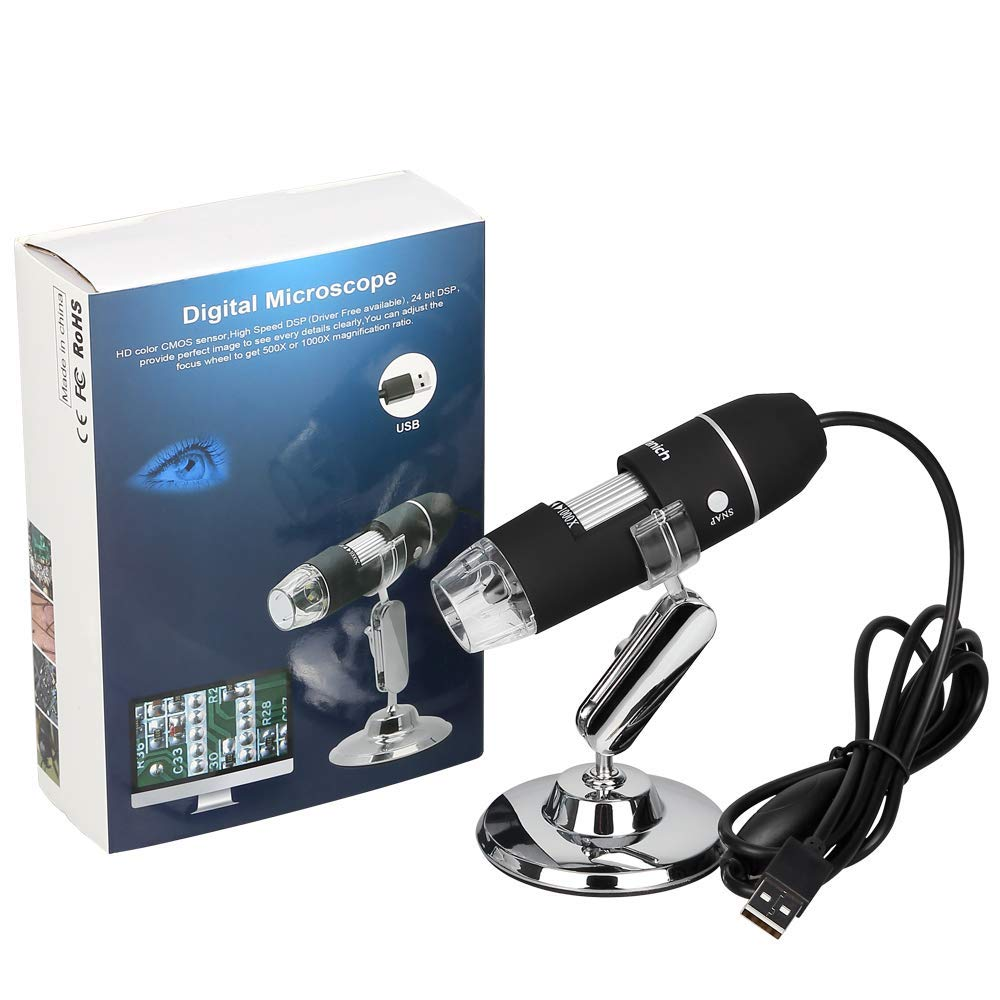 Kranich Digital Microscopio USB portatil 1000x endoscopio con Zoom para c/ámara de Ordenador con 8 LED Compatible con Window y Android