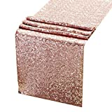 ACRABROS Sequin Table Runners Rose Gold- 12 X 108 Inch Glitter Rose Gold Table Runner-Rose Gold Party Supplies Fabric Decorations for Wedding Birthday Baby Shower: more info