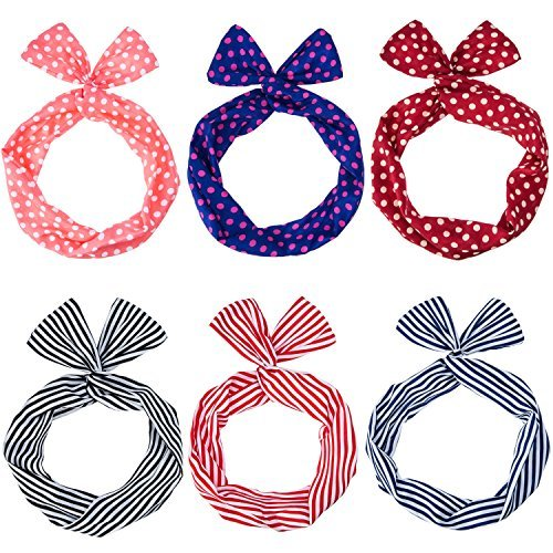 eBoot 6 Pieces Twist Bow Wire Headband Retro Bowknot Polka Dot Stripe Wire Hair Holders for Women and Girls, Multicolor (Bow Retro)