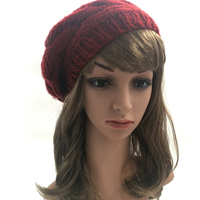 68d063f9 JULY SHEEP Women's Lady Knitted Beret Hat Merino Wool Braided Hat French  Beret For Winter Autumn
