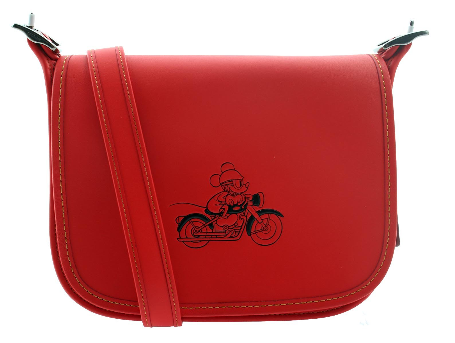 COACH MICKEY Patricia Saddle 23 in Glove Calf Leather with Mickey (Bright Red)