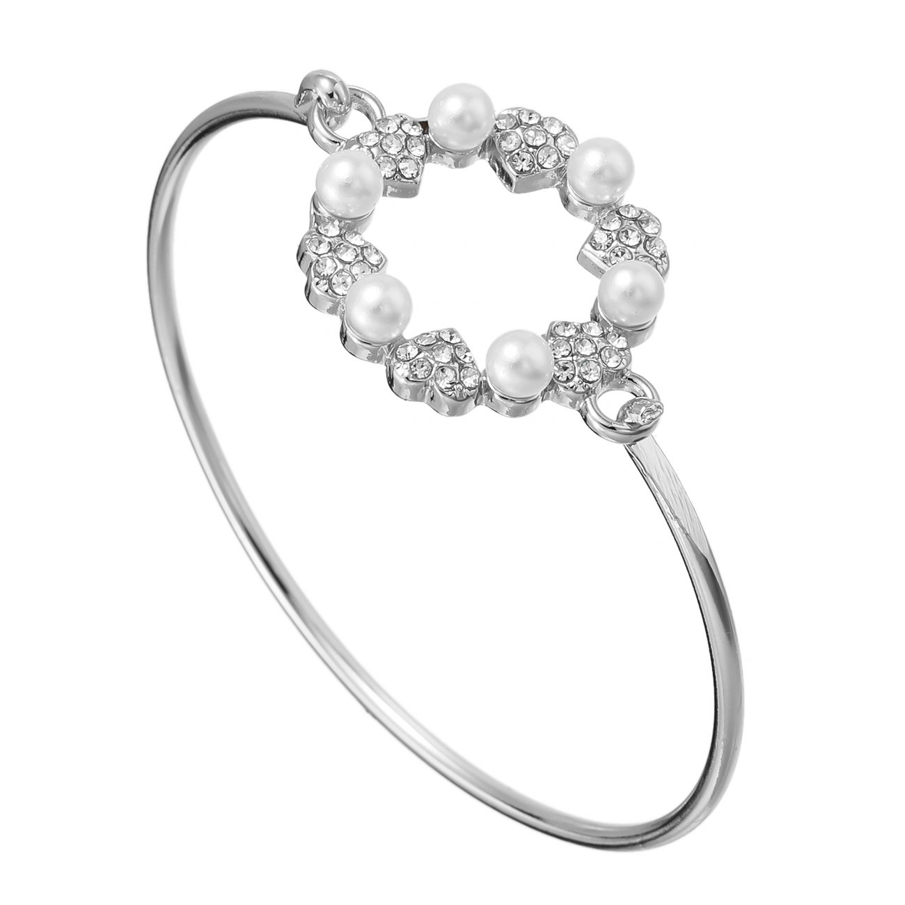 PANGRUI Easy Open Magnificent Crystal Crown Bangle Bracelets with Rhinestone and Pearl Bridesmaid Gift