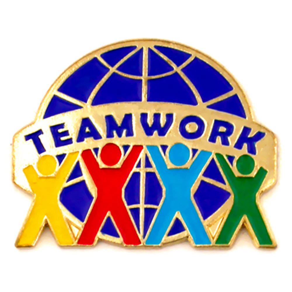PinMart's Teamwork World Globe Enamel Lapel Pin by PinMart