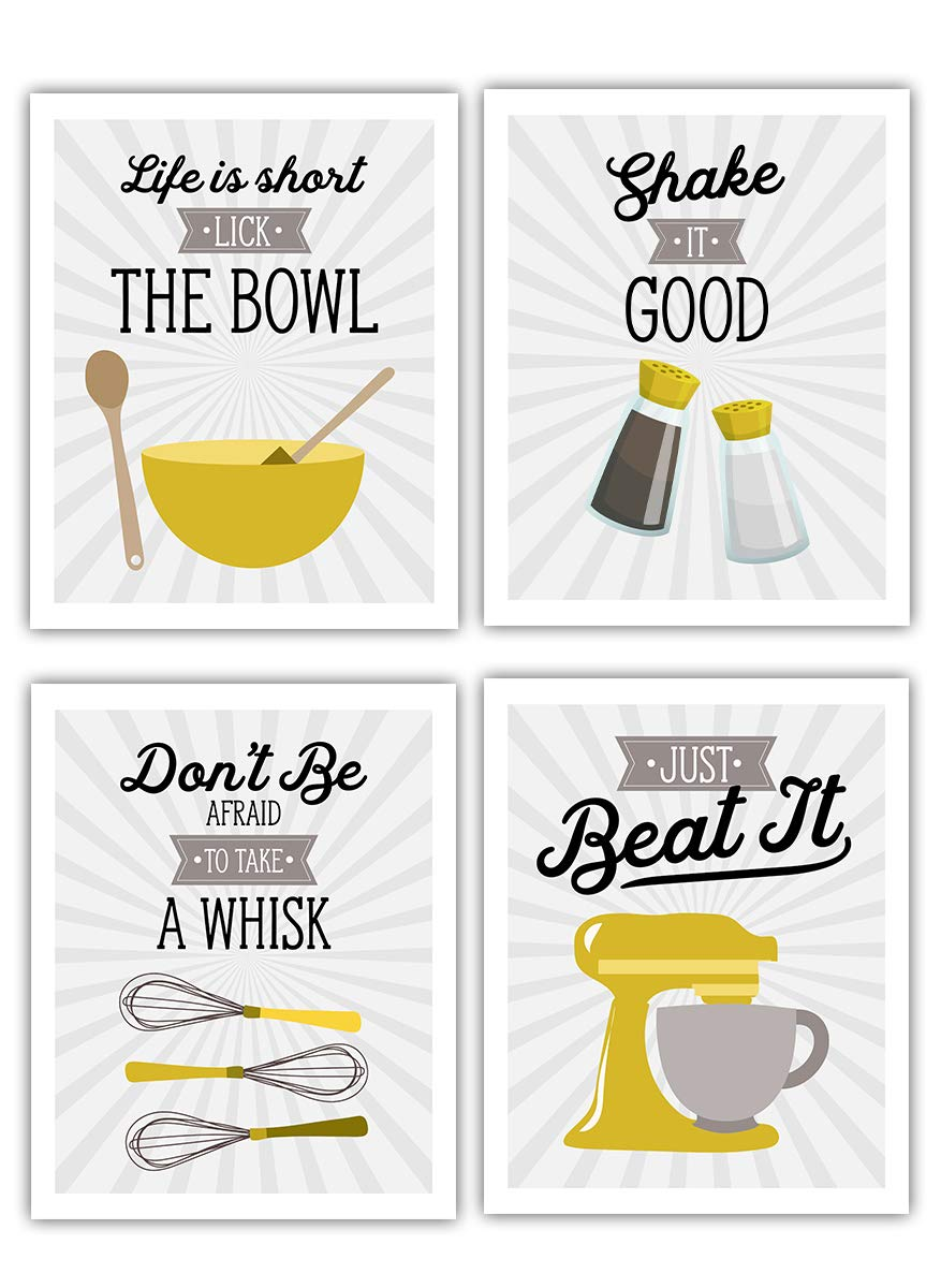 Amazon Com Retro Vintage Kitchen Wall Art Prints Mustard Yellow Gold Gray White Set Of 4 8x10 Unframed Kitchen Utensil Prints Perfect For Rustic Modern Farmhouse Country Decor Handmade