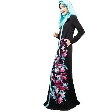 3f1e33639e8 Aro Lora Women s Islamic Floral Abaya Apparel Jilbab Muslim Dress Kaftan  Medium Black