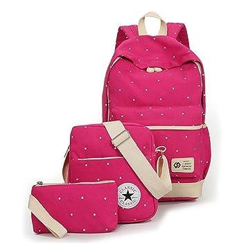 53c1c6333490e Schulrucksack Mädchen Canvas Rucksack Damen Schul Schulranzen Schultasche 3  in 1