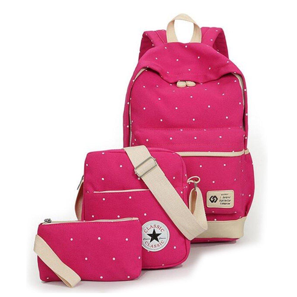 BBWAY School Bag Set Canvas Backpack Handbag Lunch Shoulder Bags Pencil Cases Casual Daypack 3PCS Backpacks Rucksacks School Bags For Girls Womens Backpack For Teen Vintage Rucksack