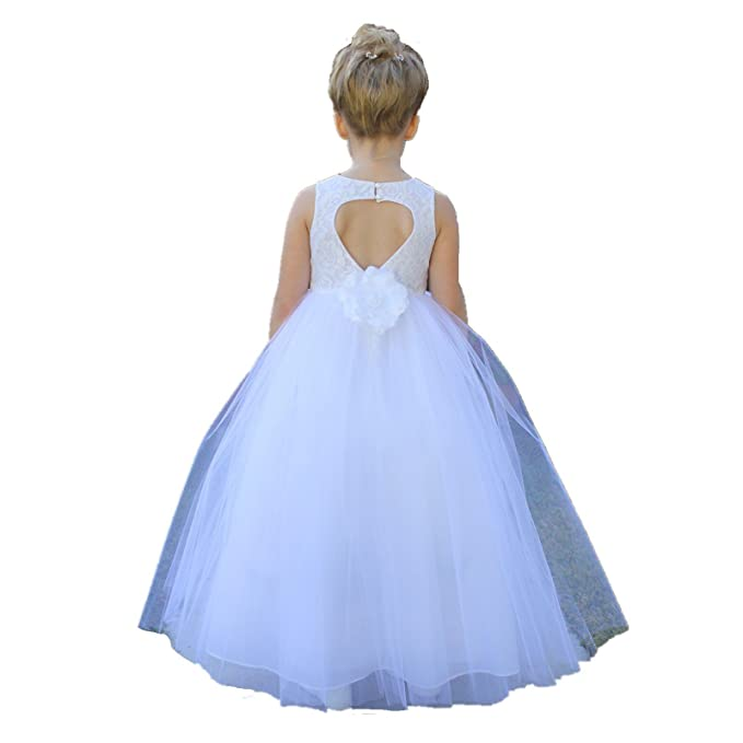 Amazon.com: ekidsbridal Floral Lace Heart Cutout Formal Flower Girl Dresses Party Gown 172F: Clothing