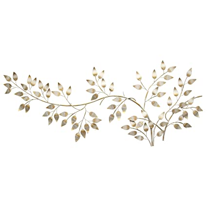 954e7ffa79 Stratton Home Decor SHD0106 Brushed Flowing Leaves Wall Decor, Gold, 60.00  W X 1.25 D X