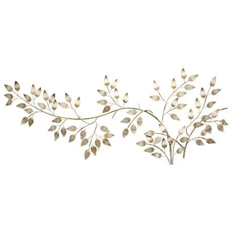 Superieur Stratton Home Decor SHD0106 Brushed Flowing Leaves Wall Decor, Gold
