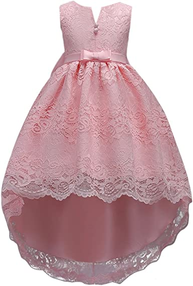 OBEEII Kid Girl Vintage Lace Flower High Low Tutu Dress Bridesmaid Wedding Communion