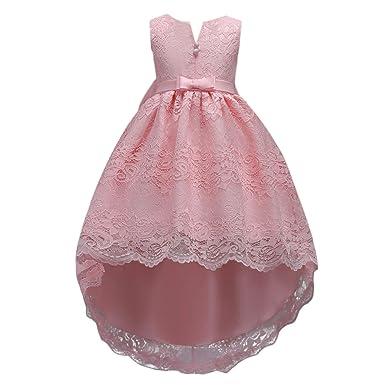FYMNSI Kinder Abendkleider Mädchen Spitzenkleid Hi-Lo Partykleid Prinzessin Kleid Blumenmädchen Hochzeitskleid Brautjungfer F