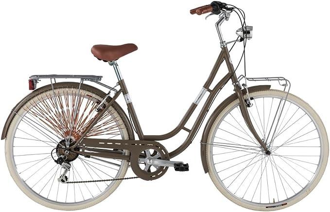 Bicicleta América de mujer de Alpina con marco de acero, mujer, marrón, Telaio 46 cm: Amazon.es: Deportes y aire libre
