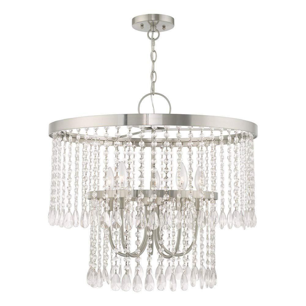 Livex Lighting 51065-91 Elizabeth - Five Light Chandelier, Brushed Nickel Finish with Clear Crystal