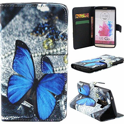 LG G3 Case,Vogue Shop Sparkle Pattern Premium Pu Leather Wallet LG G3 Wallet Case[Stand Feature] Type Magnet Design Flip Protective Credit Card Holder Pouch Skin Case Cover for LG G3 (Built-in Credit Card/ID Card Slot) [Flip Cover] with Foldable Stand, Pockets for ID, Credit Cards - Blue Flip Case for LG G3 (Blue Butterfly)