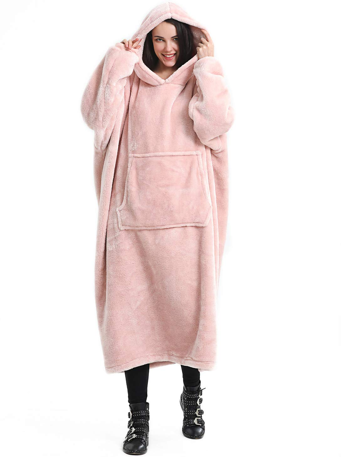Blanket Sweatshirt, Soft Warm Cozy Plush Hoodie Wearable Blanket with Giant Pocket, One Size Fit All - Pink