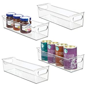 "mDesign Slim Plastic Kitchen Pantry Cabinet, Refrigerator or Freezer Food Storage Bin with Handles - Organizer for Fruit, Yogurt, Snacks, Pasta - BPA Free, 14"" Long, 4 Pack - Clear"