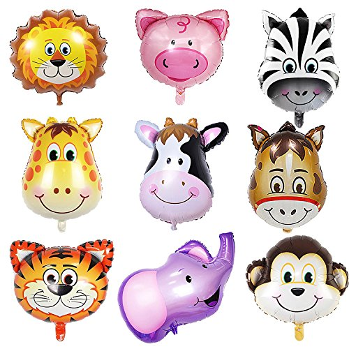 SOTOGO 9 Pieces Jungle Safari Animals Balloons 22 Inch Giant Zoo Animal Balloons Kit For Jungle Safari Animals Theme Birthday Party Decorations Kids Gift Birthday Party Décor (Jumbo Piece 9)