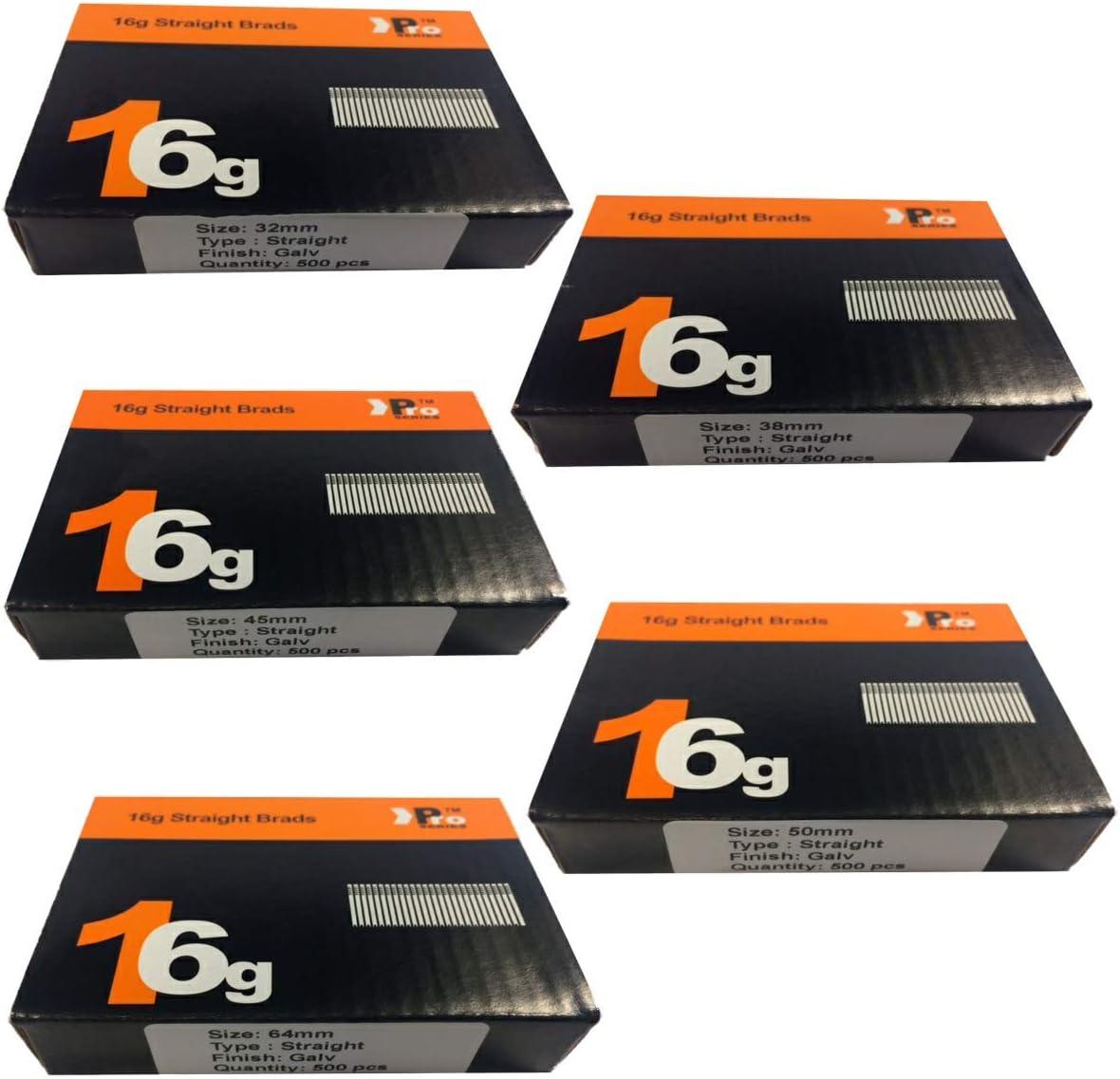 Tacwise 16 g 2500 box 64 mm Straight Brad Nails Finition Clous pour pistolet