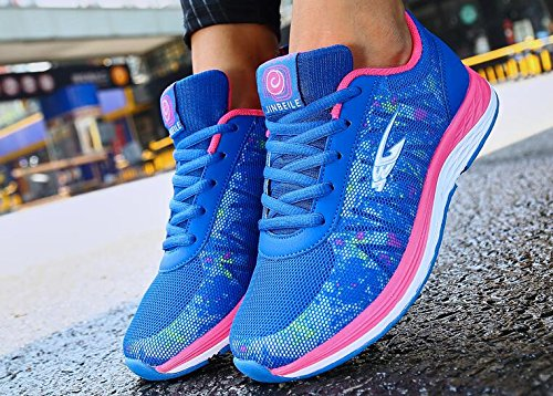 HOOH Sneakers Women Lightweight Anti-Slip Hiking Running Walking Casual Sports Shoes Blue QSH4nHHaeB