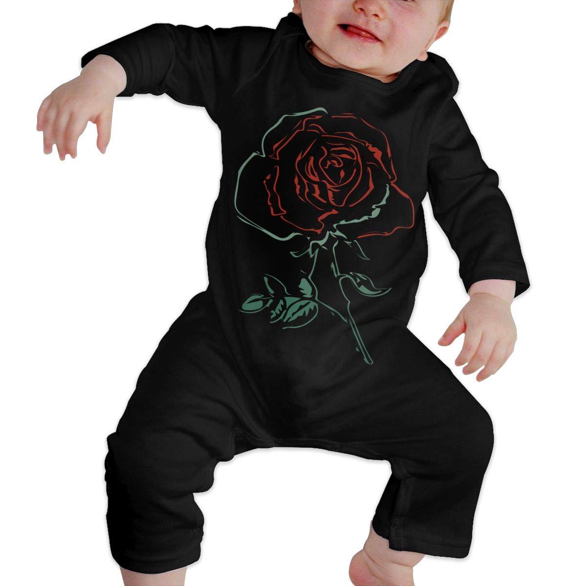 UGFGF-S3 Rose Red Toddler Baby Long Sleeve Romper Jumpsuit Kid Pajamas
