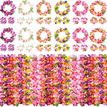 Hestya 12 Set Colorful Luau Hawaiian Flower Leis Necklace Bracelets Headband Set Luau Party Decoration Supplies