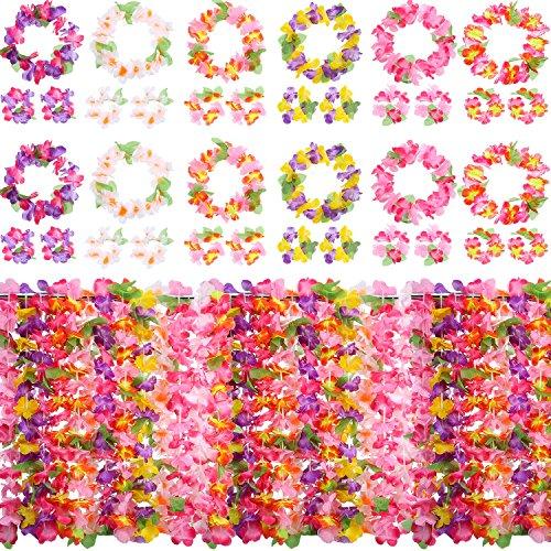 (12 Set Colorful Luau Hawaiian Flower Leis Necklace Bracelets Headband Set for Luau Party Decoration Supplies)